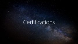 2018.03: Certifications