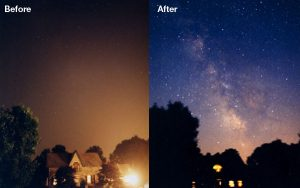 Light pollution before after