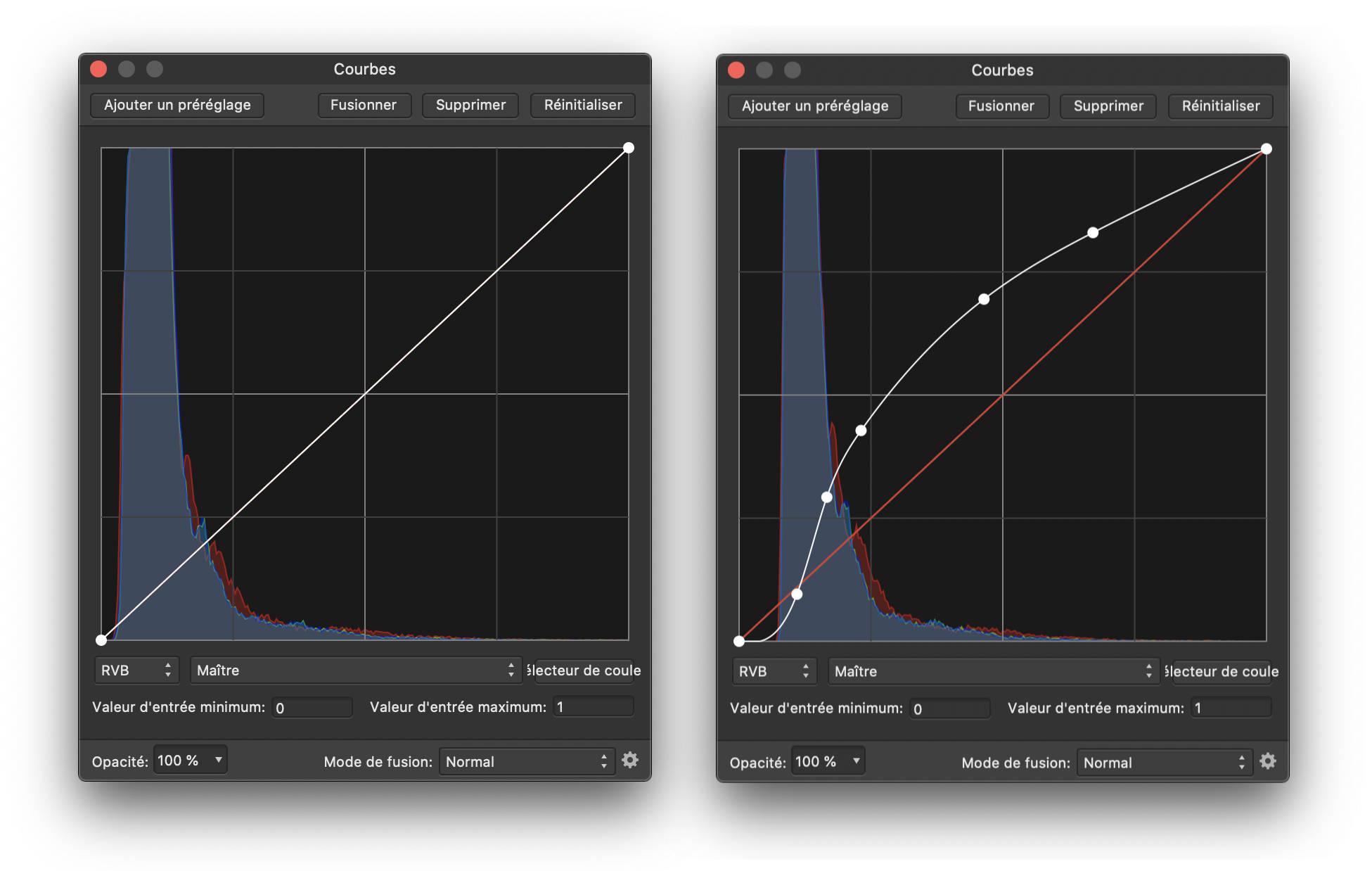 traitement des images Stellina : courbes de tons